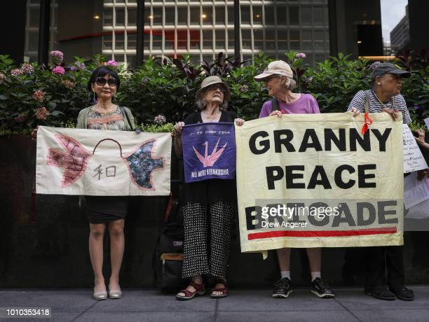 Demonstrators gather to mark the 73rd anniversary of the Hiroshima and Nagasaki nuclear bombings outside the Japanese Consulate in Midtown Manhattan...