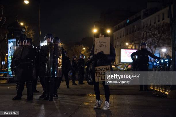 Demonstrators gather to protest against alleged police assault on a 22 year old man at AulnaysousBois commune in Paris France on February 08 2017