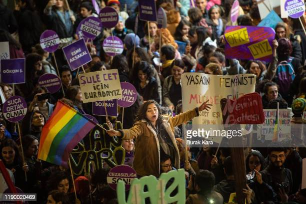 Demonstrators gather to protest against femicide and violence against women on November 25, 2019 in Istanbul, Turkey. November 25 is international...
