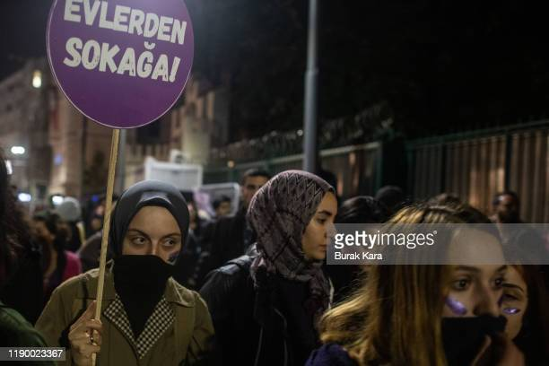 Demonstrators gather to protest against femicide and violence against women on November 25 2019 in Istanbul Turkey November 25 is international day...