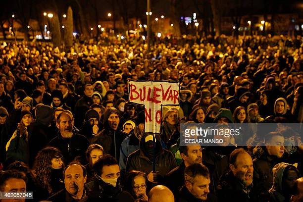 Demonstrators gather to protest against imminent construction works to revamp Vitoria street the city's main thoroughfare in Burgos on January 12...