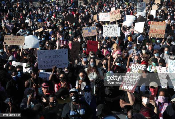 Demonstrators gather to protest the killing of George Floyd on May 30 2020 in Minneapolis Minnesota Former Minneapolis police officer Derek Chauvin...