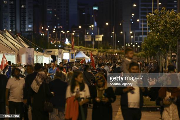 Demonstrators gathered for democracy watches at the Presidential Complex within the July 15 Democracy and National Unity Day's events held to mark...