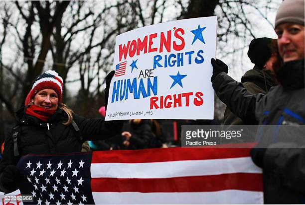 Demonstrators gathered in front of the Premier's office in Warsaw Poland protesting in solidarity with the millions of other women in the United...