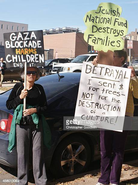 Demonstrators gathered outside the Governor's Mansion in Denver to protest a luncheon for the Jewish National Fund, hosted by Colorado Governor John...