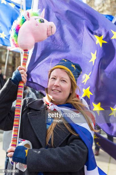 Demonstrators gathered to protest against Brexit outside the Parliament waving EU and Union flags on January 16 2018 in London England