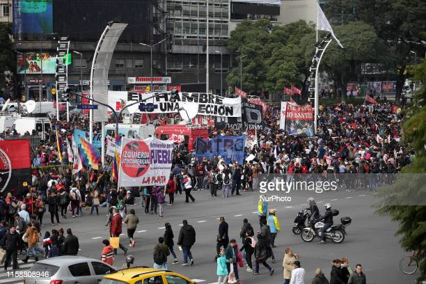 Demonstrators gathering around the Obelisco to protest economic policies of the government in Buenos Aires Argentina on July 30 2019
