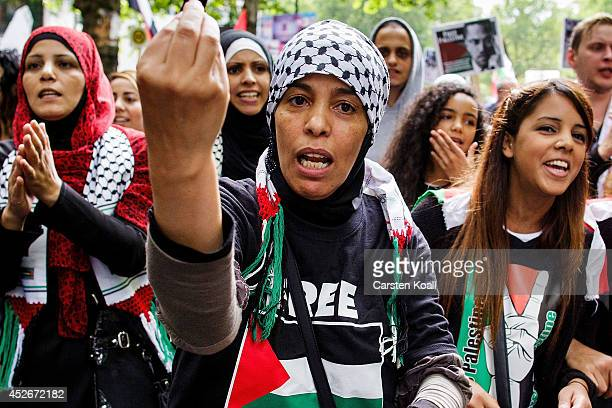 Demonstrators gesture and shout slogans during a rally for AlQuds Day an event intended to express solidarity with the Palestinian people on July 25...