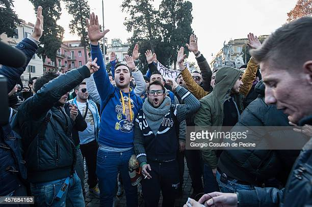 Demonstrators gesture as they take part in the protest of the Forconi Movement at Piazza del Popolo on December 18, 2013 in Rome, Italy. The I...