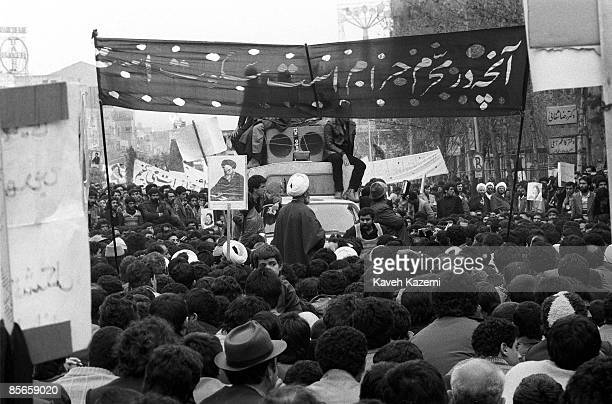 Demonstrators guided by clergymen in Tehran during the Iranian Revolution 19th January 1979 As many as 17 million people up and down the country...