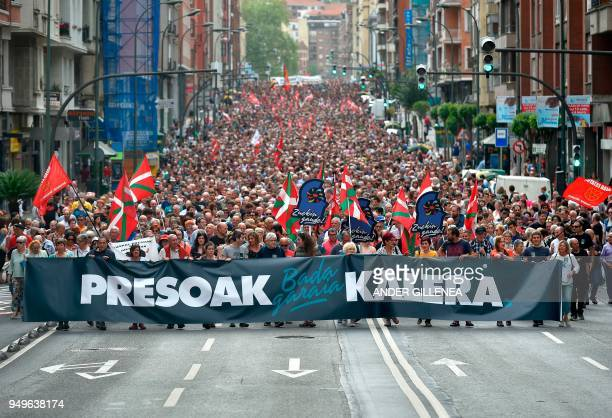Demonstrators hold a banner reading in Basque It's time Basque prisonners come back home during a demonstration called by the Kalera Kalera...