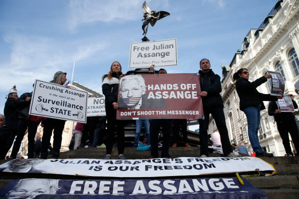 GBR: Julian Assange Supporters Protest In Central London