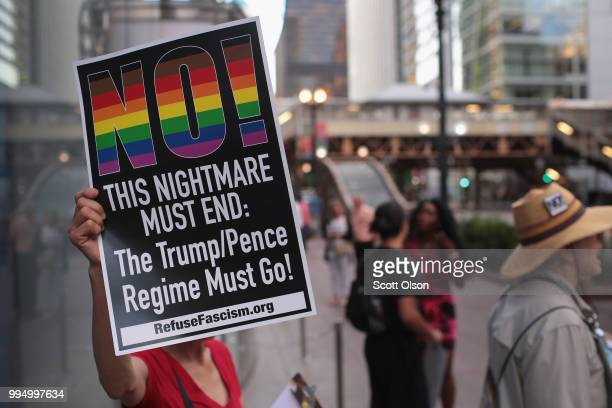 Demonstrators hold a rally downtown as concerns mount that President Donald Trump's choice to replace Justice Anthony Kennedy on the Supreme Court...