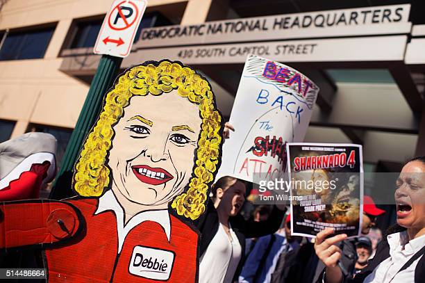 Demonstrators hold a rally outside of the Democratic National Committee headquarters to protest Rep Debbie Wasserman Schultz's DFla support of a bill...