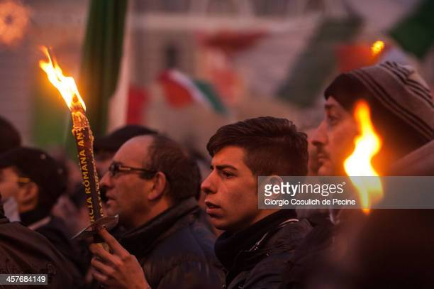 Demonstrators hold candles as they take part in the protest of the Forconi Movement at Piazza del Popolo on December 18, 2013 in Rome, Italy. The I...