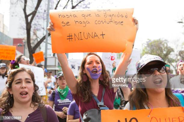 Demonstrators hold placards and shout slogans during a rally on International Women's Day in Mexico City Mexico on Friday March 8 2020 The United...