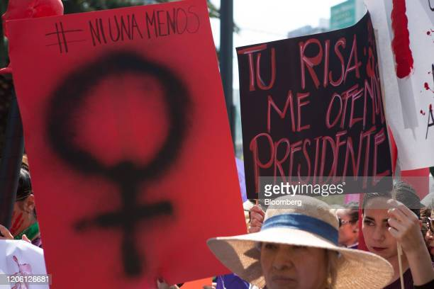 Demonstrators hold placards during a rally on International Women's Day in Mexico City Mexico on Friday March 8 2020 The United Nations first...