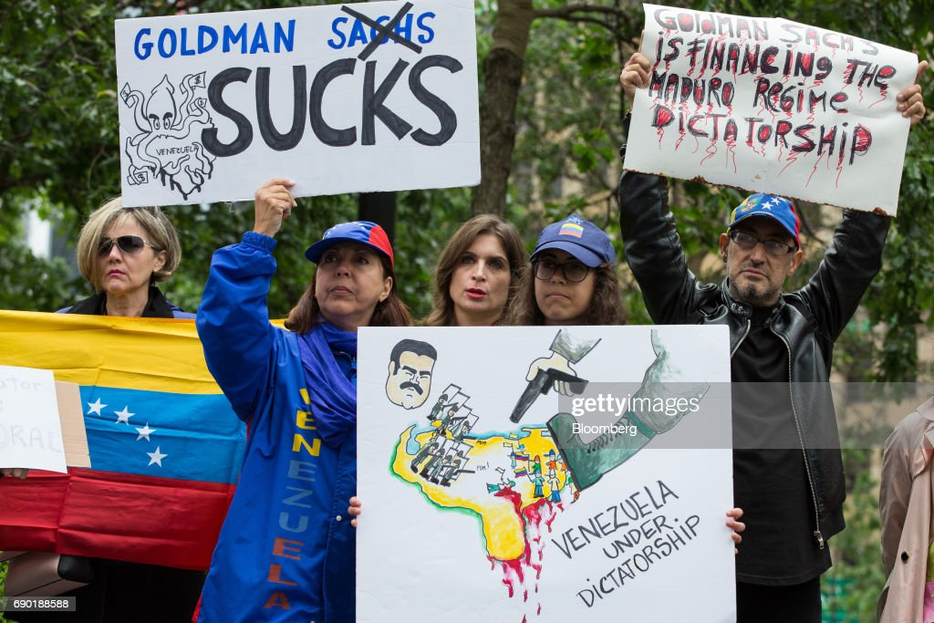 Demonstrators Protest At Goldman Sachs HQ As the Company Defends Venezuela Bond Deal Vilified By Opposition : News Photo