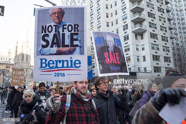 Demonstrators hold signs and chant in support of Bernie Sanders Supporters of Democratic Presidential candidate Bernie Sanders rallied in Union...