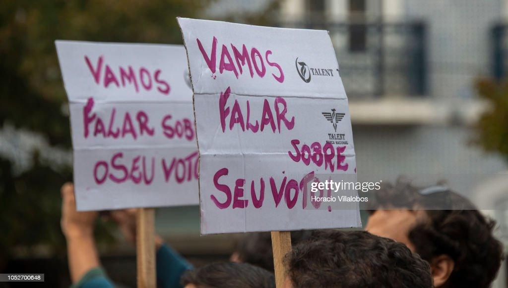 Demonstration Against Jair Bolsonaro in Lisbon : News Photo