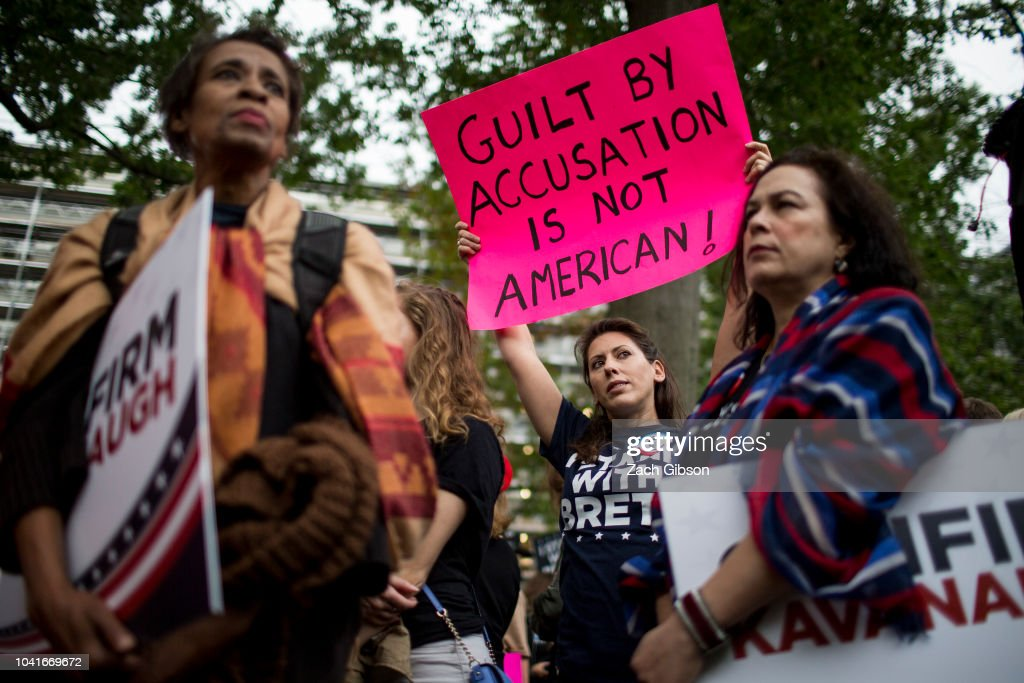 Protesters Demonstrate Against Supreme Court Nominee Brett Kavanaugh On Day Of Hearing With His Accuser Dr. Christine Blasey Ford : News Photo