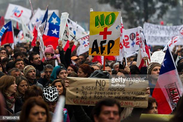 Demonstrators hold signs where you can read quotNo more AFP quot and quot Enough of abuse no more miserable pensions no more theft of our funds...