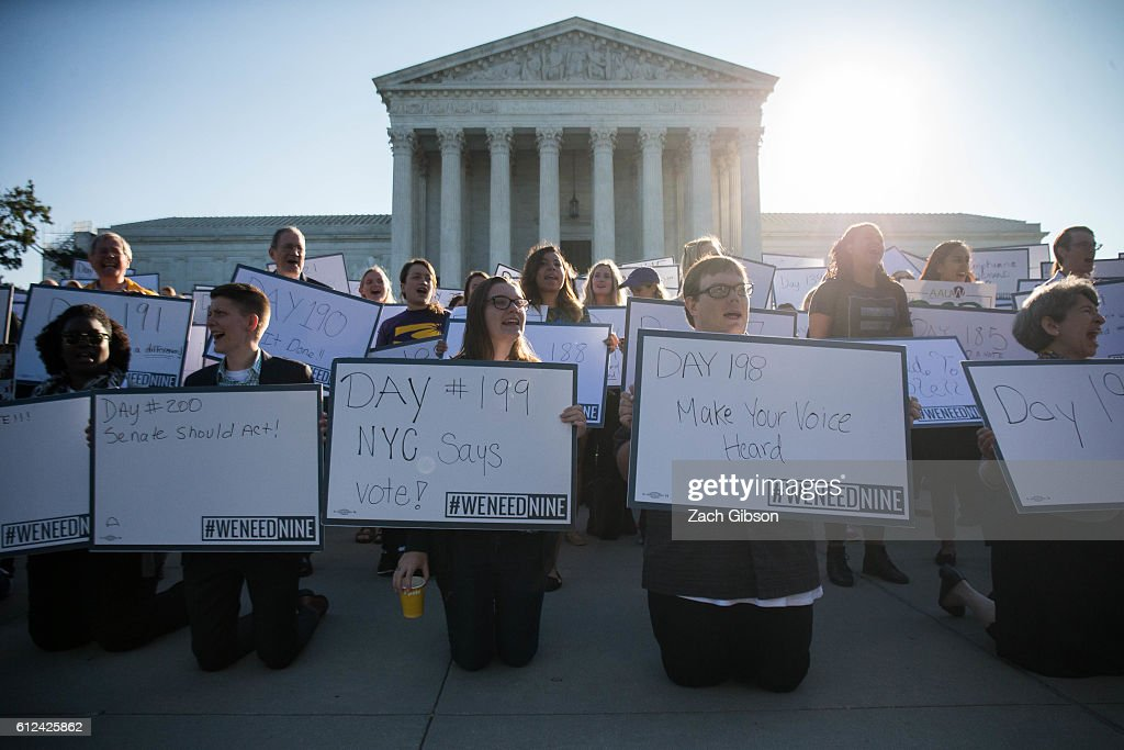 Rally At U.S. Supreme Court Protests Federal Court Vacancies : News Photo