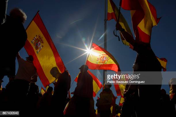 Demonstrators hold Spanish flags as they protest in support of Article 155 and against the independence of Catalonia under the slogan 'Let's recover...