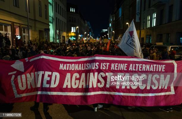 Nationalism is no alternative during a protest outside the headquaters of the Free Democratic Party in Berlin on February 5 2020 The tiny central...