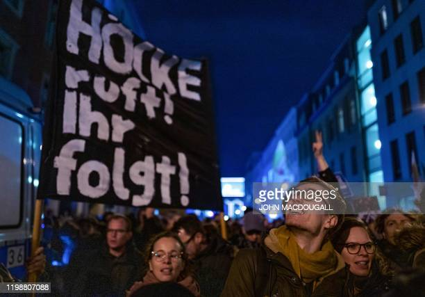 When Hoecke calls you follow during a protest outside the headquaters of the Free Democratic Party in Berlin on February 5 2020 The tiny central...