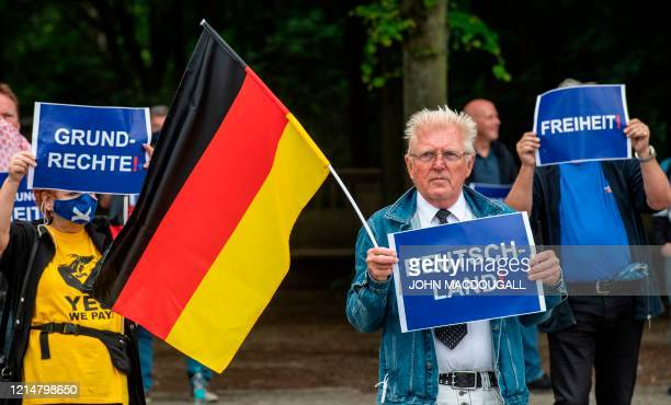 Basic rights Germany and Freedom during a protest against lockdown measures due to the new coronavirus COVID19 pandemic in Berlin on May 23 2020 by...