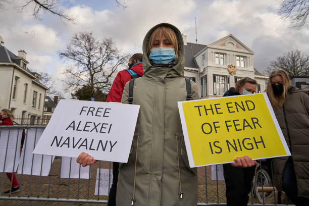 NLD: Pro-Navalny Protest Outside Russian Embassy In The Hague