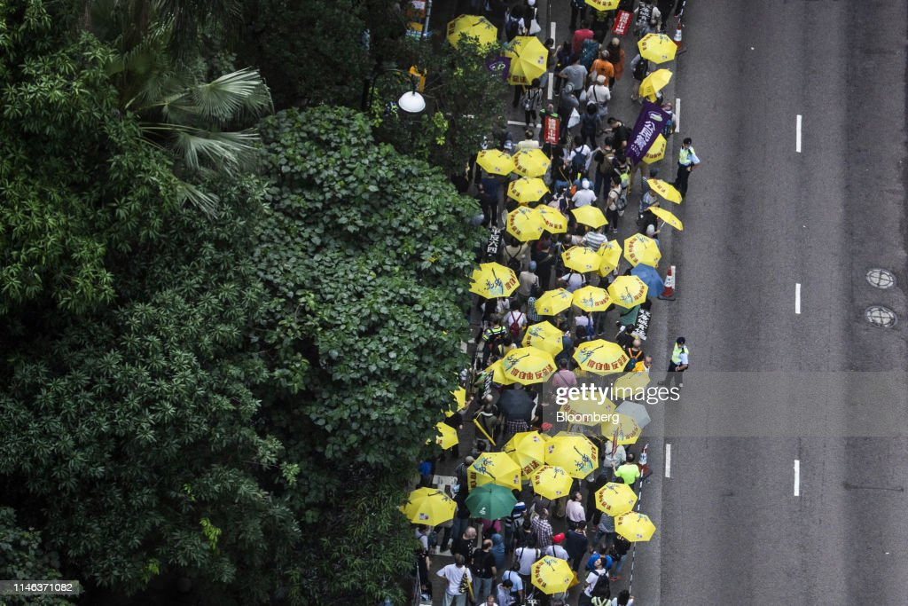 HKG: Protesters Take Part In Patriotic Democracy March