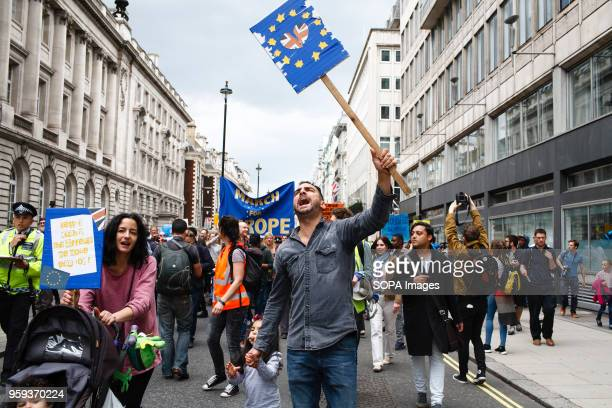 """Demonstrators in central London take part in the pro-EU """"March for Europe"""", tens of thousands strong, nine days after the deeply divisive British..."""