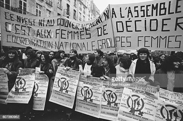 Demonstrators in favour of abortion march from the Bastille to the National Assembly in Paris, in response to a call by French Socialist and...