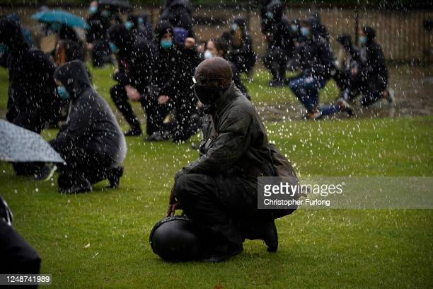 Demonstrators in Hull, the hometown of William Wilberforce MP - leader of the movement to eradicate the slave trade, 'take a knee' in honour of...