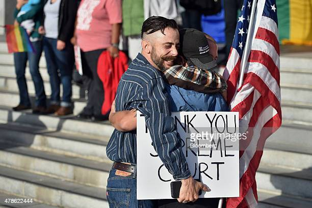 Demonstrators in support of samesex marriage embrace after the US Supreme Court ruling in San Francisco California US on Friday June 26 2015 Samesex...