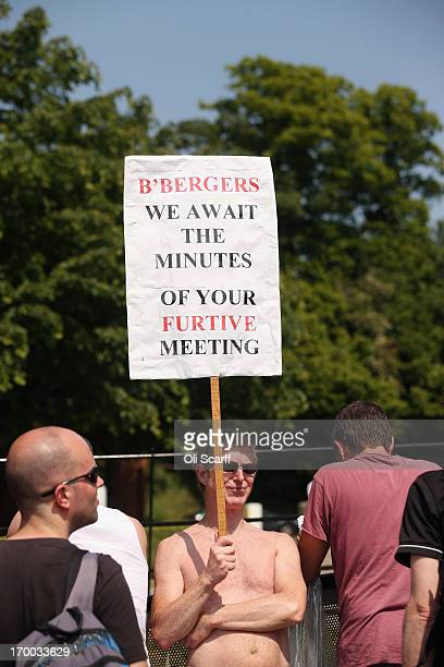 Demonstrators in the protester encampment outside The Grove hotel which is hosting the annual Bilderberg conference on June 6 2013 in Watford England...