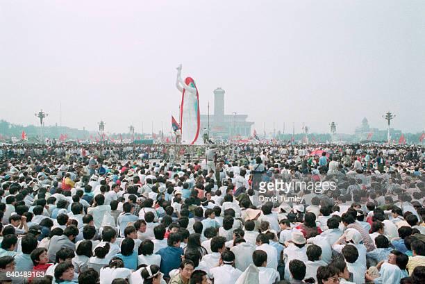 Demonstrators in Tiananmen Square