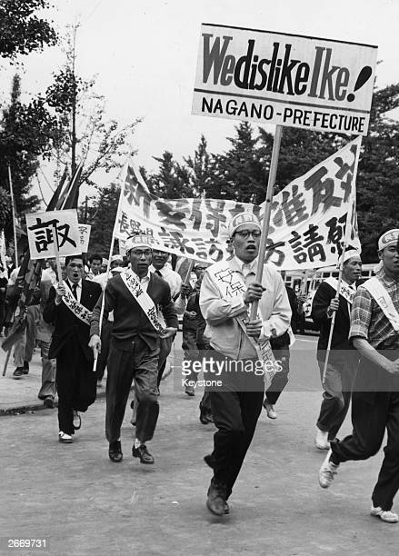 Demonstrators in Tokyo protesting against President Eisenhower's US Japan security treaty which they fear will lead to American military bases in...