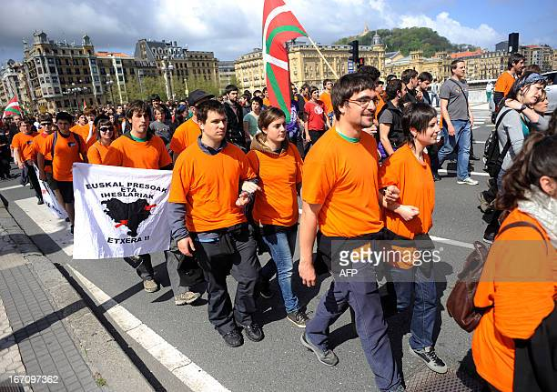 Demonstrators including alleged members of various Basque proindependence organizations some of whom are facing trials take part in a march against...