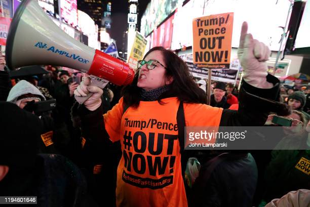 Demonstrators join national impeachment demonstrations to demand an end to Donald Trump's presidency named Nobody Is Above The Law Rally NYC at Times...