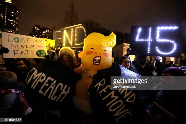 Demonstrators join national impeachment demonstrations to demand an end to Donald Trump's presidency named Nobody Is Above The Law Rally NYC at Union...