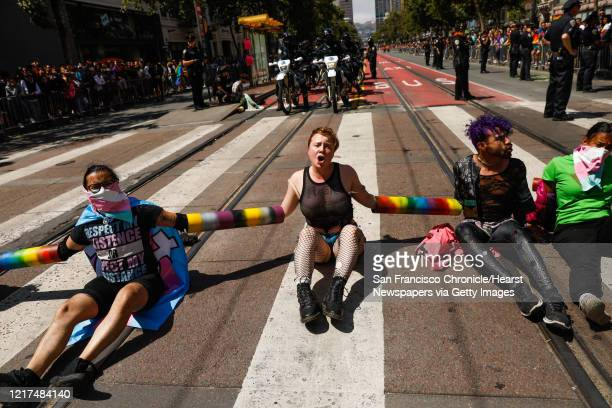 Demonstrators laid across Market Street in an attempt to shut down the annual Pride Parade in San Francisco California on Sunday June 30 2019 The...