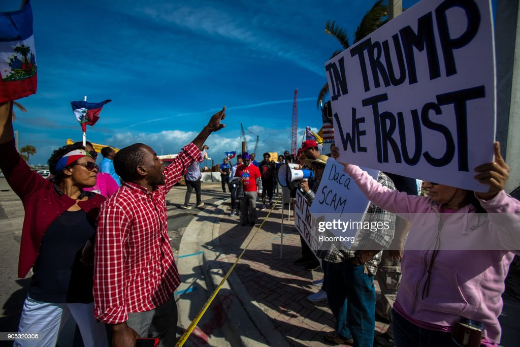 Demonstrators Attend A Protest Against President Trump At Mar-a-Lago