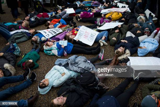 Demonstrators lie on the ground a 'liein' demonstration supporting gun control reform near the White House on February 19 2018 in Washington DC...