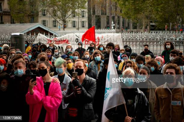 Demonstrators listen to a speech in front of the CROUS building in Paris, on September 28, 2020. - About 150 people gathered in front of the CROUS of...