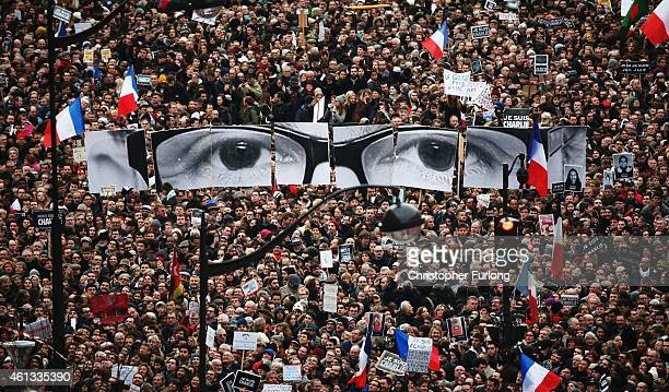 Demonstrators make their way along Boulevrd Voltaire in a unity rally in Paris following the recent terrorist attacks on January 11 2015 in Paris...