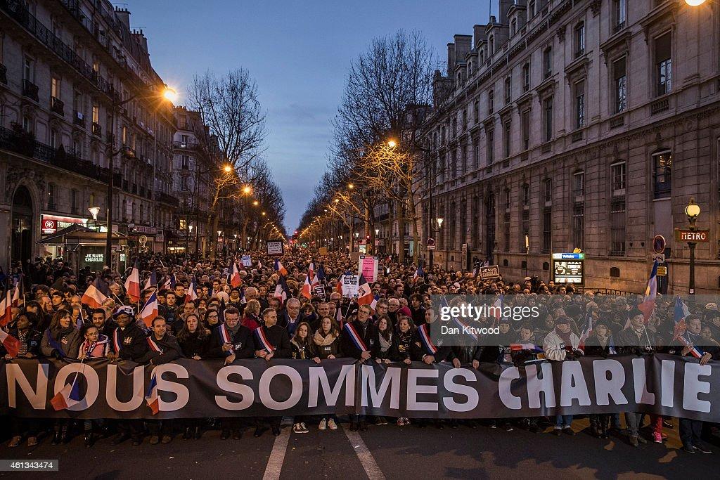 Mass Unity Rally Held In Paris Following Recent Terrorist Attacks : News Photo