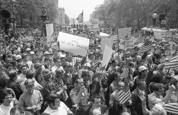 NY: 8th May 1970 - Hard Hat Riot: NYC Construction Workers Clash With Anti Vietnam Protestors